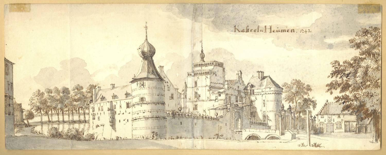Kasteel Heumen in Heumen. Tekening Jan de Beijer, 1741